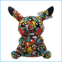pikachu video toptan satış-çocuk hediyeler Çocuk oyuncakları için Pikachu peluş oyuncak çocuk oyuncakları baskı siyah 20cm / 8 inç Pikachu peluş oyuncak