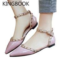плоские сандалии для свадьбы оптовых-KINGBOOK Women Sandals Buckle Rivet Black White Wedding Flat Shoes Women Sandalias Mujer Sweet Summer Shoes