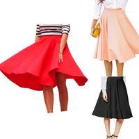 moda saia guarda-chuva venda por atacado-Novas Mulheres Casual Cintura Alta Sólida A-Line Saia De Umbrella Nova Moda Roupas, Sapatos Acessórios