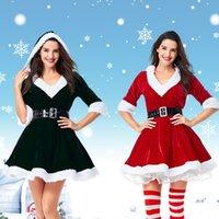 vestido blanco con capucha al por mayor-Sra. De Santa edad Mujeres traje de la Navidad medias mangas con capucha con cuello en V balón vestido de una línea de mini vestido con White Fuzzy Recorte Juego de correas cosplay S-XL