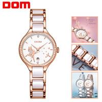 Wholesale geneva women luxury watches for sale - Group buy DOM Women Watches Fashion Ceramics Watchband Diamond Wrist Watch Top Luxury Brand Dress Ladies Geneva Quartz Clock G G M2