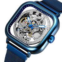 correia mecânica venda por atacado-2019 Novo Relógio Quadrado Oco À Prova D 'Água dos homens Relógio Mecânico Automático Aço Inoxidável Cinto de Malha Ultra Fina Relógio Mecânico Design Punk