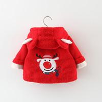 erkek çocuk başlıklı yün ceketi toptan satış-Kız Kış Ceket çocuk Kış Kürk Ceket Kalınlaşmak Koreli Boys Kapşonlu Giysi Tavşan Kulak Yün Kazak Ceket Xmas Toddler Kabanlar
