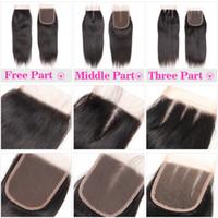 dantel üst kapaklar vücut dalgası toptan satış-100% İnsan Saç 4X4 Dantel Kapatma Bebek Saç ile brezilyalı Düz Saç Vücut Dalga Üst Dantel Kapatma Ücretsiz Orta Üç Bölüm Perulu Malezya