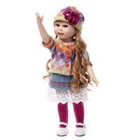 cuerpos de muñecas de plástico al por mayor-18 Pulgadas Reborn Full Body Plastic American Girl Doll Long Hair Dressing Play House Juguetes calientes