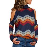 camisas de ombro venda por atacado-Camisola das Mulheres Inverno Off-ombro Camisola Feminina de Malha Mulheres Camisola Pullover Feminino Tricot Jersey Jumper Puxar Femme