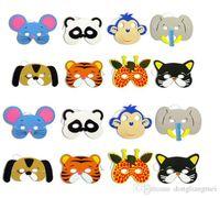 mascarillas de animales para niños al por mayor-DLM2 108pc 12 Asst Kids Foam Animal Face Masks Zoo Farm Party 1 Set (12 tipos de animales) Suministros para fiestas de cumpleaños H47