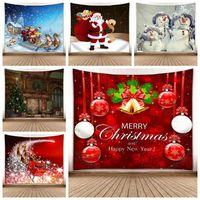 ingrosso alberi decorativi per pareti-150 * 130CM Hanging Natale Tapestry Xmas Tree Snowman Wall Carpet 3D Digital Print parete coperta asciugamano decorativo domestico Arazzi GGA2754
