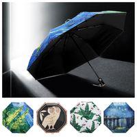 ingrosso parasole pieghevole anti uv-Ombrello con stampa gufo da donna con ombrello pieghevole anti-uv, mini ombrello automatico a manica corta moda T2I5142