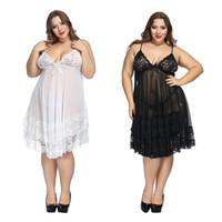 Plus size 6xl lingerie sleepwear White Night Gown Lingerie Ladies Sexy Lace Babydolls Sleepwear womens erotic sling Homewear