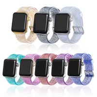 bant parıltı toptan satış-Kayış Apple İzle 42mm Için 44mm Şeffaf Silikon Glitter Bling Band Için iWatch 38mm 40mm Rahat Watch Band
