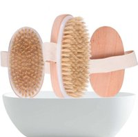 spa de madeira venda por atacado-Bath Brush Dry Skin Body Soft Natural Bristle SPA The Brush Wooden Bath Shower Bristle Brush SPA Body Brushs Without Handle EEA1336