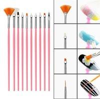 kits de esmalte de uv gel venda por atacado-15pcs acrílico Nail Art Brush Gel UV polonês Pintura Desenho Escovas Pen Nail Kit pontilhado Limpo Escova Manicure Tools Set.