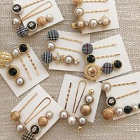 Wholesale bohemian korea jewelry resale online - New Fashion Clamps Korea Style Simulated Pearl Black Gemstone Hair Clips Student HairPins Hair Jewelry For Women Girls