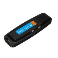 Wholesale stick recorder resale online - Memory Stick Voice Recorder Plastic Digital U Disk Black Practical USB Rechargeable Audio Conferences Tool Mini Dictaphone