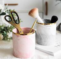 Wholesale makeup organizer pattern resale online - DHL Pen Holder Stand for Desk Marble Pattern Pencil Cup for Durable Ceramic Desk Organizer Makeup Brush Holder for Office nn cm