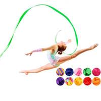 Wholesale ballet art resale online - Dance Ribbon Rhythmic Gymnastics Ribbon Art Ballet Streamer Twirling Rod Dance Props Stick Gym Gymnastics Sports Equipmemnt
