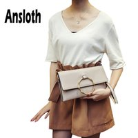 Wholesale elegant clutches resale online - Ansloth Elegant Envelope Bag For Women Circle Ring Clutch Bag Lady Chain Crossbody Small Flap Female Daily Clutch HPS622