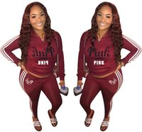 Wholesale trousers years for sale - Love Pink Tracksuit Sports Suit Pants Hoodies set Zipper Sweater Sweatshirt Trousers Pink letter Print gym outfit Women new year