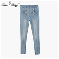 брюки с высокой талией оптовых-MIAOQING High-waisted jeans for ladies slim stretch denim jeans gold button tight fitting for ladies casual pencil pants