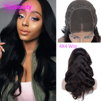 Wholesale front lace wigs free human hair for sale - Group buy Body Wave X4 Lace Closure Wig inch Indian Virgin Hair Lace Closure Lace Wig Free Part Human Hair Products Natural Color