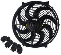 radiador 12v ventiladores al por mayor-Kit universal, negro, 14 pulgadas, ventilador delgado, pull pull, radiador eléctrico, enfriamiento 12V