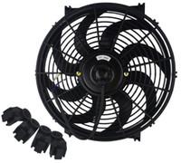 12v kühler lüfter großhandel-Universal Kit Schwarz 14 Zoll Slim Fan Push Pull Elektrischer Kühler 12V