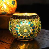 mum çayı fincanları toptan satış-Avrupa Cam Mozaik Mumluk Şamdan El Sanatları Mum Sopa Mum Fincan Standı Yemeği Düğün Bar Parti Ev Dekor