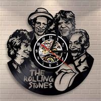 piedra de vinilo al por mayor-The Rolling Stones Tema Vinilo creativo Cuarzo Reloj de pared Habitación Arte de la pared Reloj Decoración del hogar Reloj de pared Elección fantástica Elección increíble