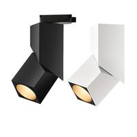 Wholesale black lamp diy for sale - Group buy Black White COB Led Track lighting aluminum DIY ajustable Ceiling Rail Track lights Spot Rail Spotlights Replace Halogen Lamps