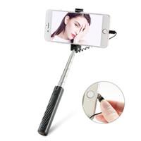 fil machine achat en gros de-Tige télescopique en acier inoxydable de bâton de Selfie de bâton de téléphone portable en acier inoxydable câblé de contrôle du retardateur 7 sections 12.6 ~ 64.8cm