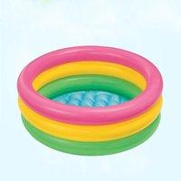 aufblasbare kinderschwimmbäder großhandel-Kleinkind Baby Kinder Kinder Regenbogen Runder aufblasbarer Pool 0,7 kg Einfacher und bequemer aufblasbarer Pool