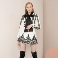 Wholesale runway suit women resale online – High Quality Women Embroidery Runway Set Fashion Bowtie Long Sleeve Shirt Tops and Mini Short Skirts Suit