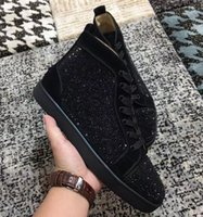Wholesale top dress shoe brands for men for sale - Group buy Designer Perfect Black Crystal High Top Red Bottom Sneakers For Women Men Dress Party Famous Brand Suede Leather Casual Shoes