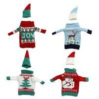 plush snowman großhandel-Festlicher Plüsch-Schneemann-Wein-Flaschen-Abdeckungs-Taschen-Bankett-Weihnachten