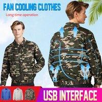 jaqueta de ar condicionado venda por atacado-2019 Ar Condicionado Cooling Jacket USB condicionado Jackets Fan para a alta temperatura roupas inteligentes de pesca de trabalho ao ar livre
