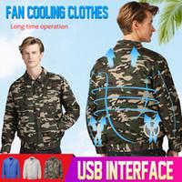 hava koşulu ceketi toptan satış-2019 Klima Ceket USB Soğutma Yüksek Sıcaklık Açık Çalışma Balıkçılık akıllı giysiler için Fan Ceketler Koşullu