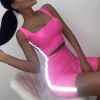 chándales de yoga al por mayor-Mujeres Sexy 3M Chándales reflectantes Blusas sin mangas 2pcs Conjuntos de ropa Flaco Slim Fit Color del caramelo Trajes de verano