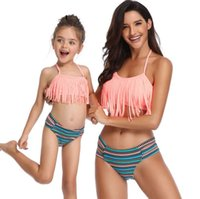 bc1a6f7b09781 Wholesale matching family swimwear resale online - Family match swimsuit  mother daughter fringes bikini swimwear Bohemia