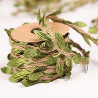 yapay roping toptan satış-Yaprak Garland Doğal Jüt Sicim Çuval Bezi Yaprak Şerit Kenevir Halat Duvar Asılı Rustik Düğün Dekoratif Çelenkler için Yapay Asma Bitkiler