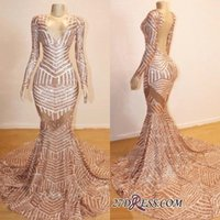 Wholesale evening gowns online - Champagne Mermaid Prom Dresses Long Cheap Sequined Long Sleeves Deep V Neck Special Occasion Dresses Formal Dress Evening Gowns BC0841