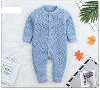 Wholesale baby clothes sizes for sale - 4 colors Baby kids designer clothes girls Boy romper Knitted Hollow Out Soft Long Sleeve Romper infant girl Spring England Style romper