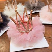 Wholesale tiara hairclip for sale - Group buy Fashion girl hairpin baby girl gauze crown hairstyle hair grip princess children hairclip headwear hair accessories