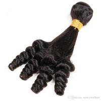 extensiones de cabello rizado un paquete al por mayor-3 paquetes de pelo virginal brasileño Funmi Extensiones de cabello rizado Sin procesar Tejido de cabello humano paquetes de color natural, 3 paquetes de un lote