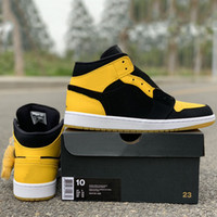 61cd080b343 2019 New Love Mid Basketball Shoes 1s Bruce lee Black Yellow New Designer  Fashion Look 1 Mens Women Trainers Sneakers