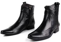 botas de moto tan al por mayor-Moda negro / marrón bronceado punta estrecha botas de moto Botas de vaquero para hombre Botas de cuero genuino tobillo masculino