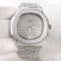 качество алмаза оптовых-Лучшее качество Nautilus Diamond wach для мужчин Япония автоматическое серебро 40 мм лицо из нержавеющей стали Алмаз ручной ледяной мужские часы жизнь водонепроницаемый