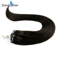 Wholesale brown micro bead hair extensions resale online - Dark Brown Straight Loops Micro Rings Beads Tipped Remy Human Hair Extensions g s strands pack