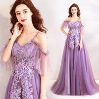 3d spitze abendkleid großhandel-Lavendel Lila Spitze Applique Spaghettiträger Abendkleider Lange Kleider Für Besondere Anlässe 3D Floral Prom Abendkleid 2019