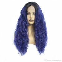 ingrosso parrucca riccia riccia lunga blu-Modo due toni blu Ombre Capelli scuri Root lunghi ricci Capelli mossi naturale della linea sottile di Glueless Synthetic Lace Front parrucche per le donne
